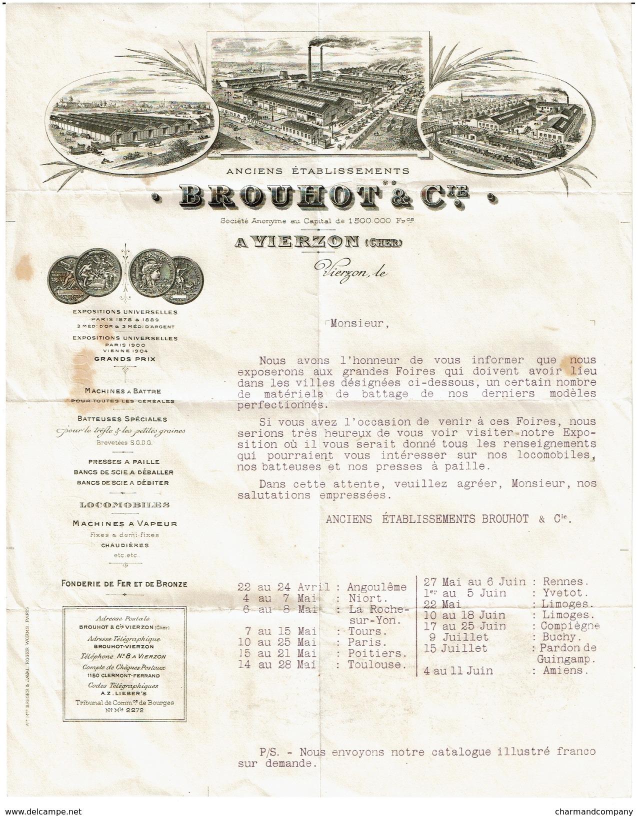 Lettre Anciens Etablissements BROUHOT & Cie, Vierzon - Cher. - Voir Scan - 1900 – 1949