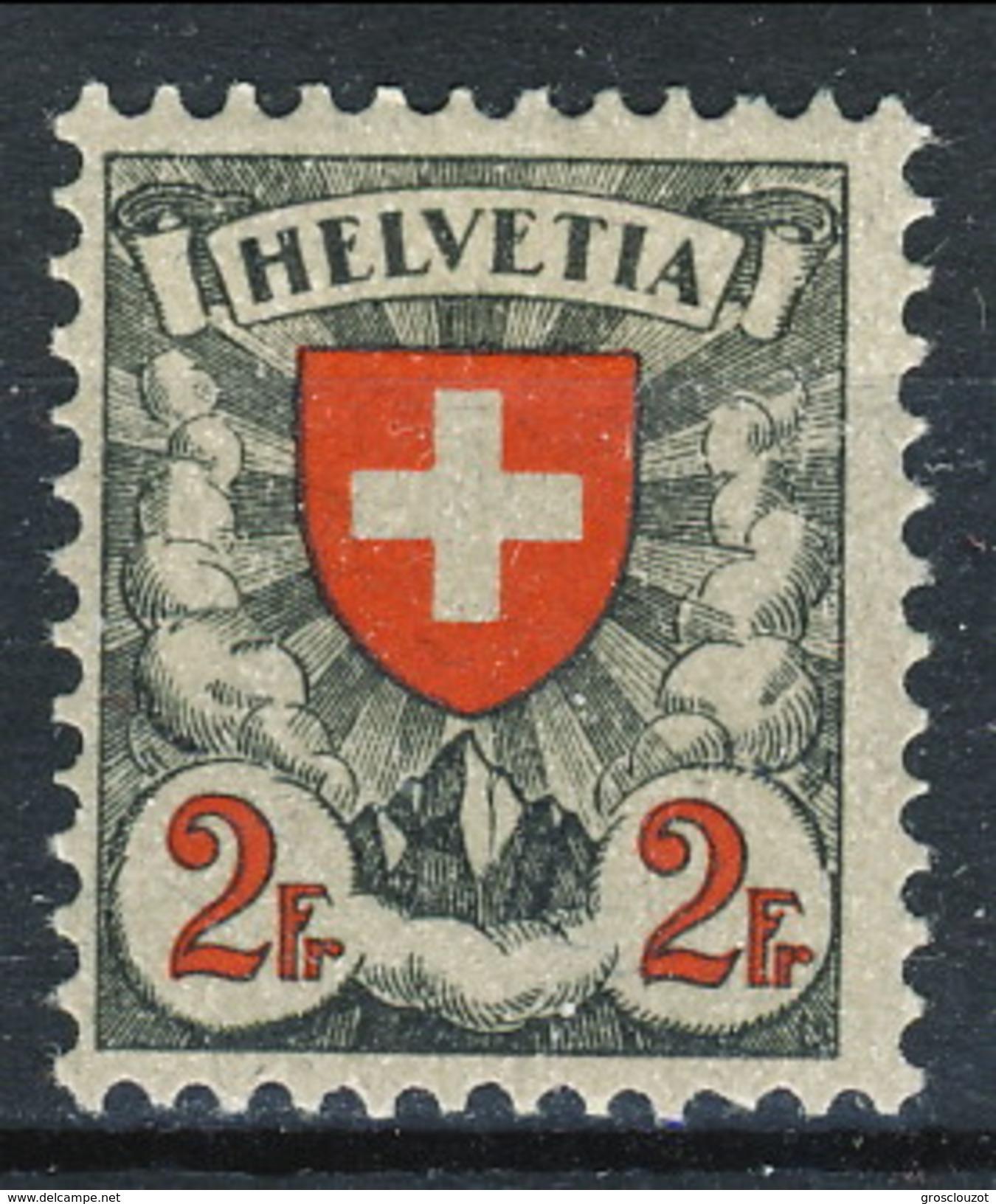 Svizzera 1933 - 34 N. 211A Croce E Scudo, Carta Patinata Goffrata (geriffelt) MLH Cat. € 126 - Svizzera