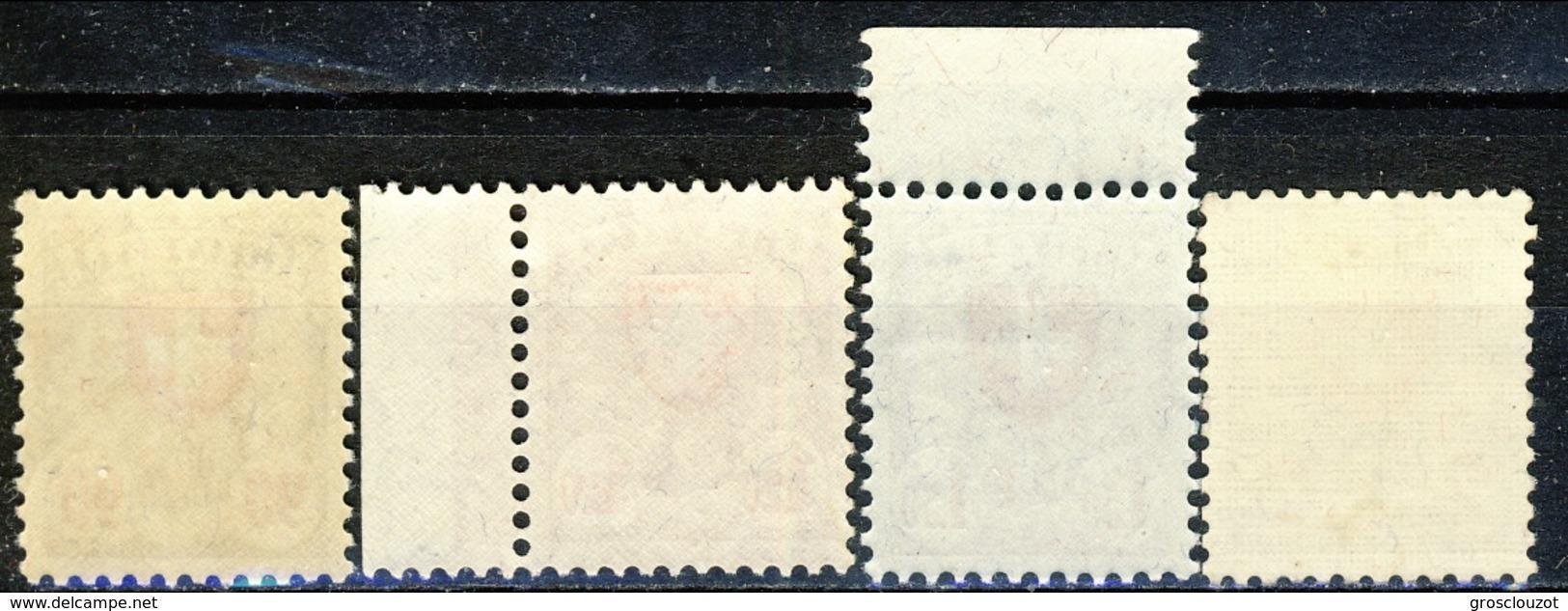 Svizzera 1933 - 34 Serie N. 208A-211A Croce E Scudo, Carta Patinata Goffrata (geriffelt) MNH LUX Cat. € 495 - Svizzera