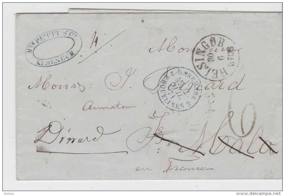 DK-F7002 / Elseneur 1871 Nach Frankreich Mit Weiterleitung - 1864-04 (Christian IX)