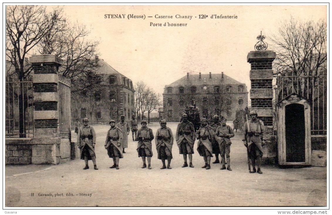 55 STENAY - Caserne Chanzy - 120è D'Infanterie   (Recto/Verso) - Stenay