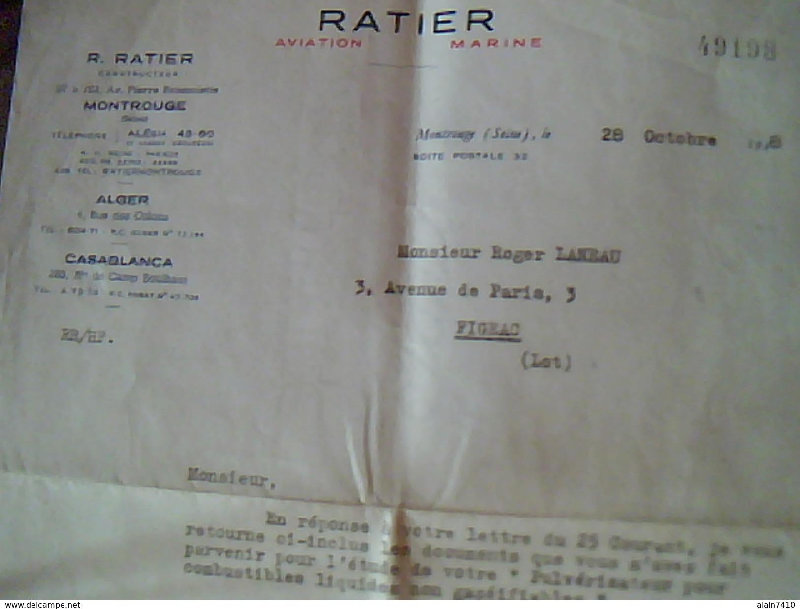 Facture  Ratier Aviation Marine A Montrouge Annee 1948  Lettre A Entete - Trasporti
