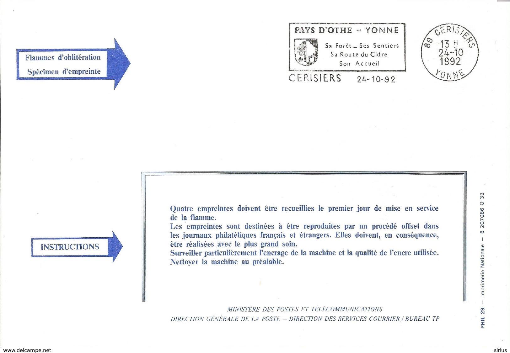 """FLAMME DE CERISIERS ( YONNE ) """" Pays D'Othe Fôret Cidre Sentiers 1992 """" Sur Document Officiel Des PTT - Sellados Mecánicos (Publicitario)"""