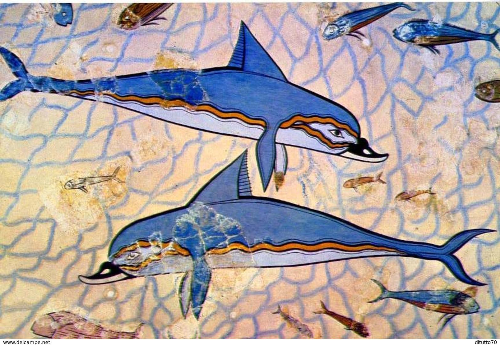 Museo Di Heraclion - I Delfini - Fresco De Cnosos - 381 - Formato Grande Non Viaggiata – E1 - Grecia