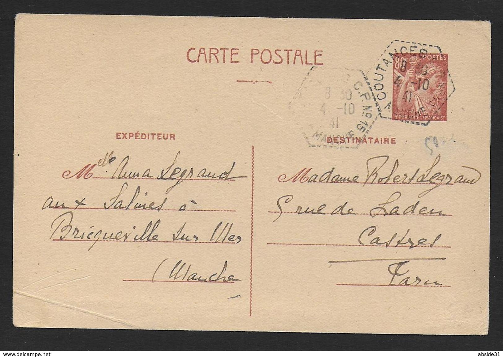 Manche -  Cachet Hexagonal Pointillé  COUTANCES  C.P. N° 15 - Marcophilie (Lettres)
