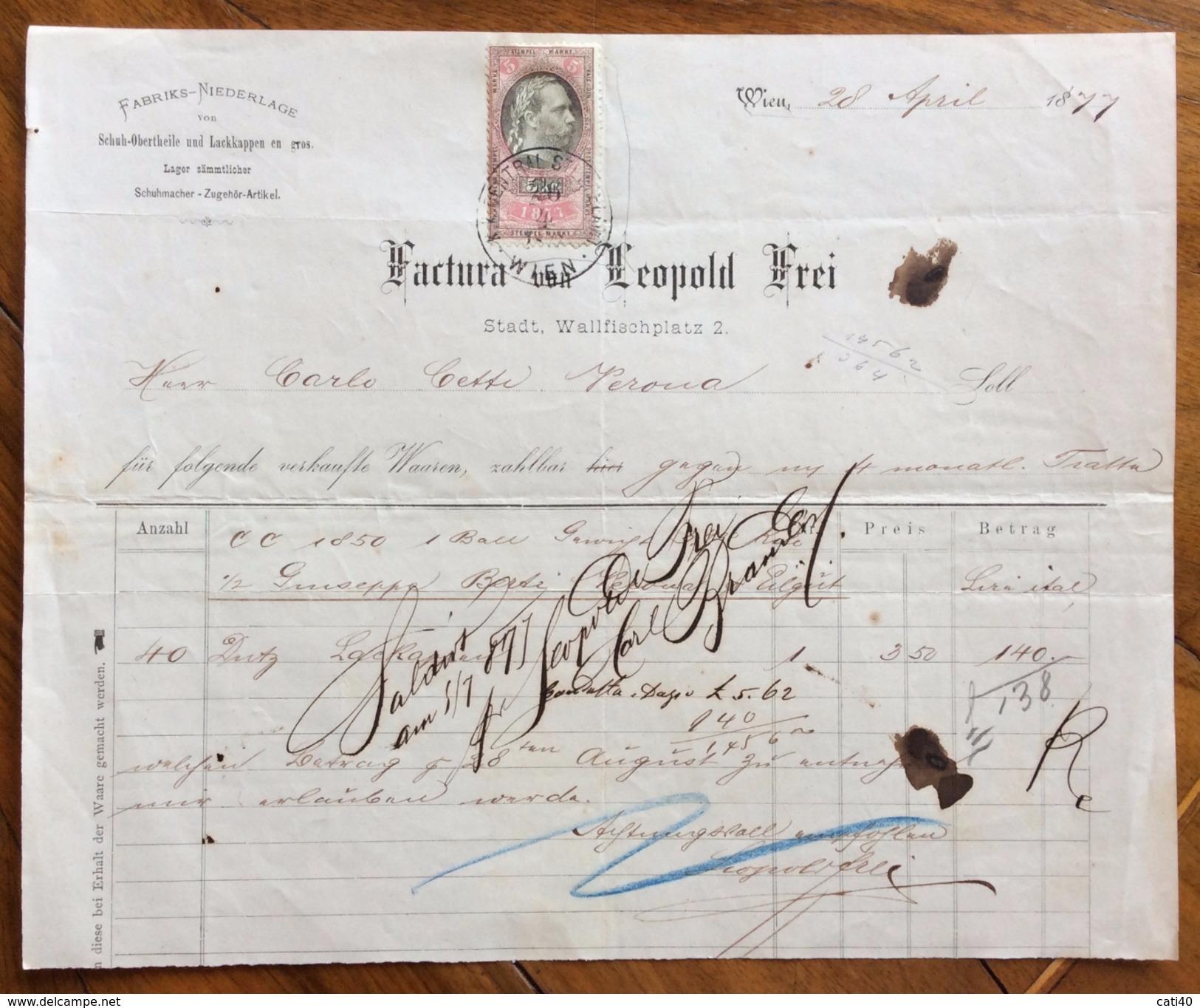 FATTURA PUBBLICITARIA  LEOPOLD FREI  WIEN VIENNA  MODA ABBIGLIAMENTO   Del 28/4/1877  CON MARCA DA BOLLO - Austria
