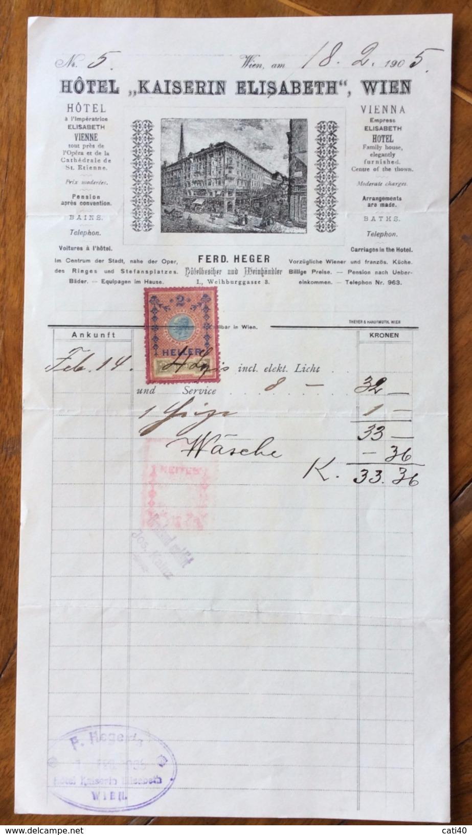 """ALBERGHI GRAND HOTEL """" KAISER ELISABETH """" VIENNA  FATTURA CON VEDUTA DEL 18/11/1899  CON MARCA DA BOLLO - Austria"""