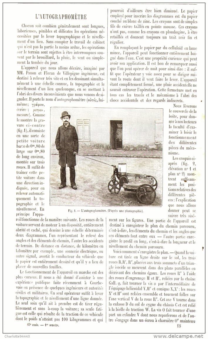 L'AUTOGRAPHOMETRE  1887 - Sciences & Technique