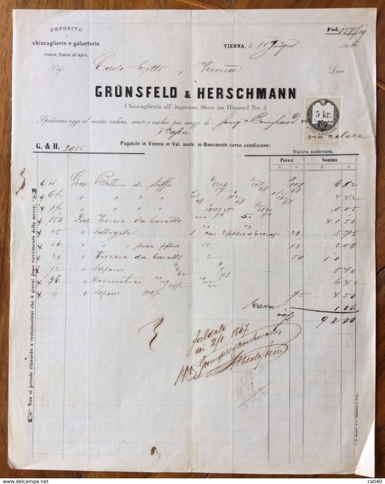 FATTURA PUBBLICITARIA   GRÜNSFELD & HERSCHMANN Chincaglierie E Galanterie In VIENNA DEL 18/6/1866    CON MARCA DA BOLLO - Austria