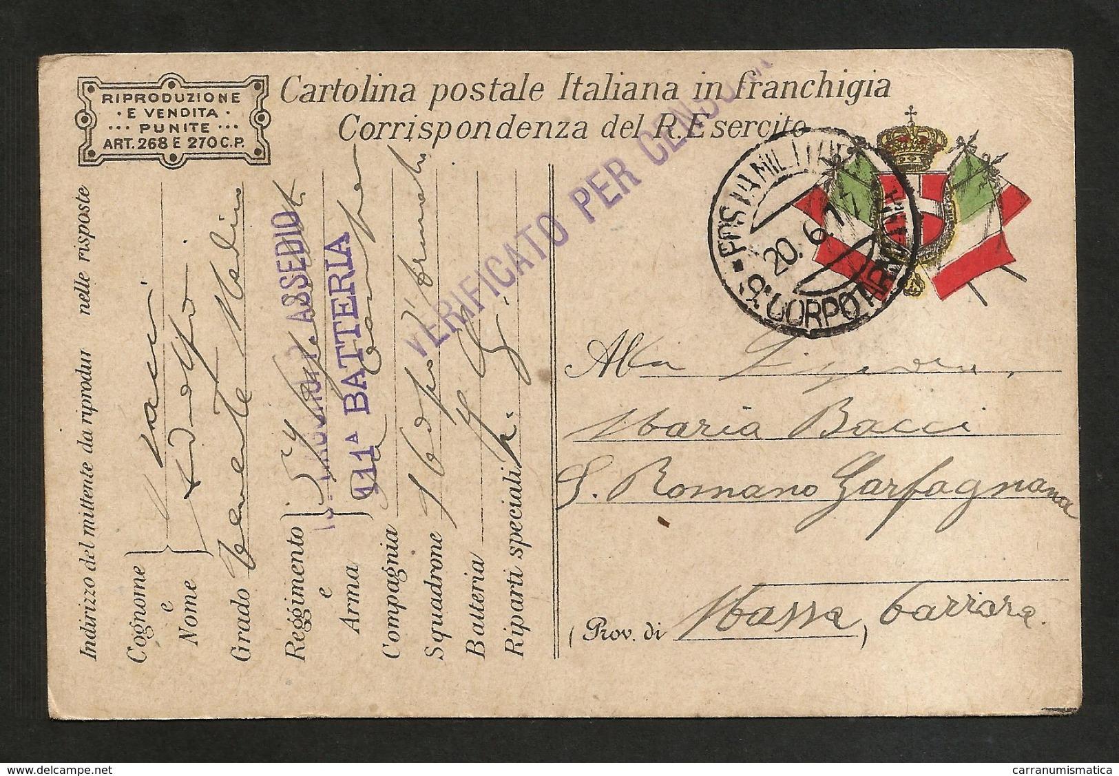CARTOLINA POSTALE - POSTA MILITARE 9° Corpo D' Armata - (Corrispondenza Regio Esercito) 1917 - Guerra 1914-18