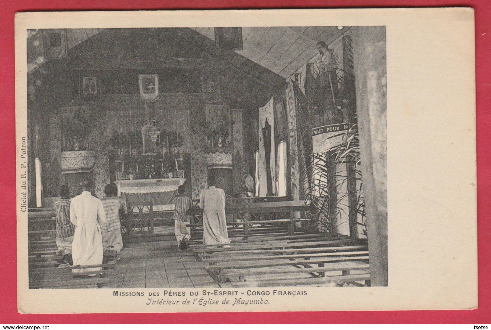 Congo Français - Missions Des Pères Du St-Esprit - Intérieur De L'Eglise De Mayumba ... Fidèles (voir Verso) - Congo Français - Autres