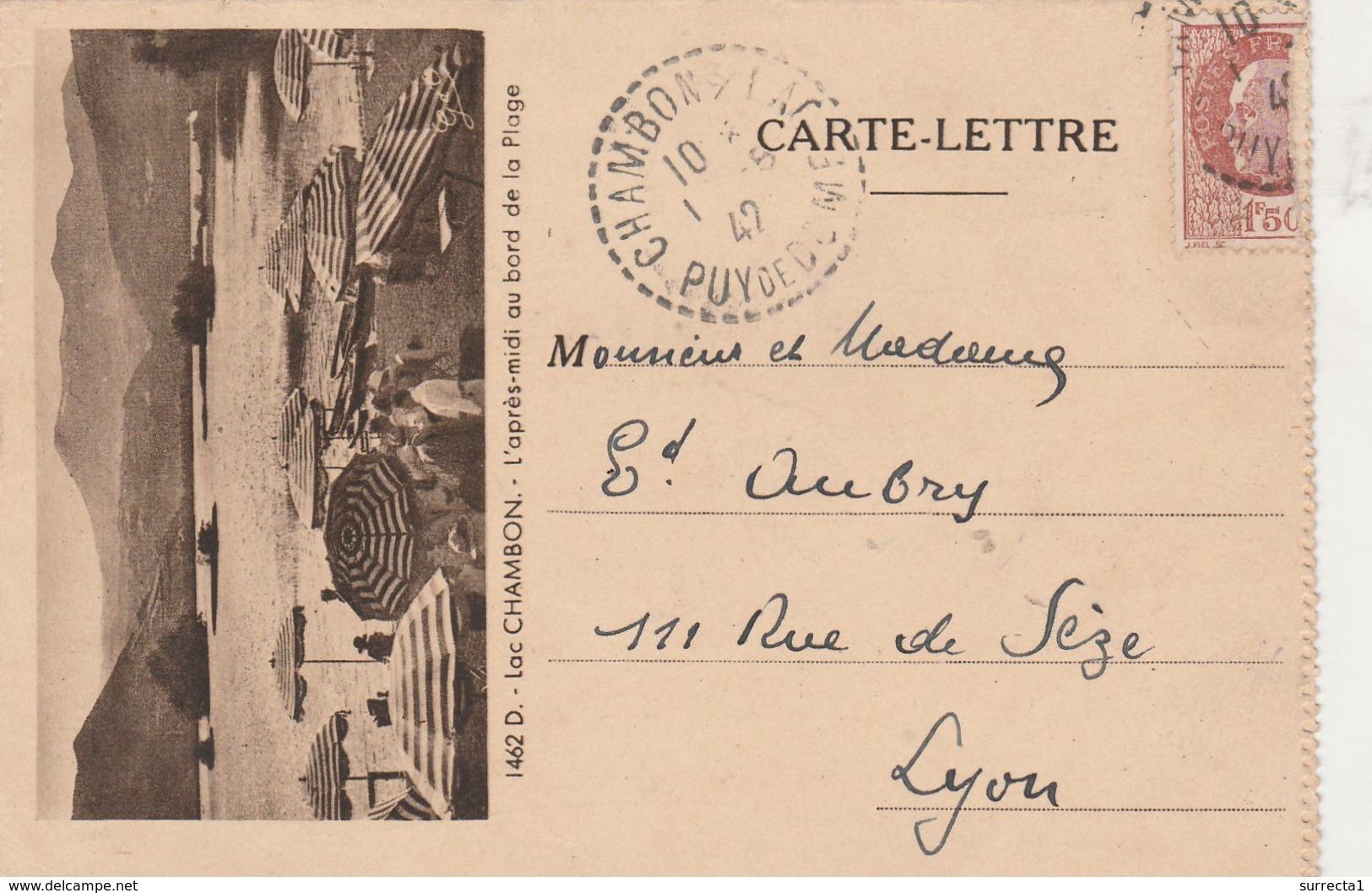 Carte Lettre 1942 Lac CHAMBON / Plage Monts Dore / Cachet Perlé Chambon / 63 Puy De Dôme - Autres