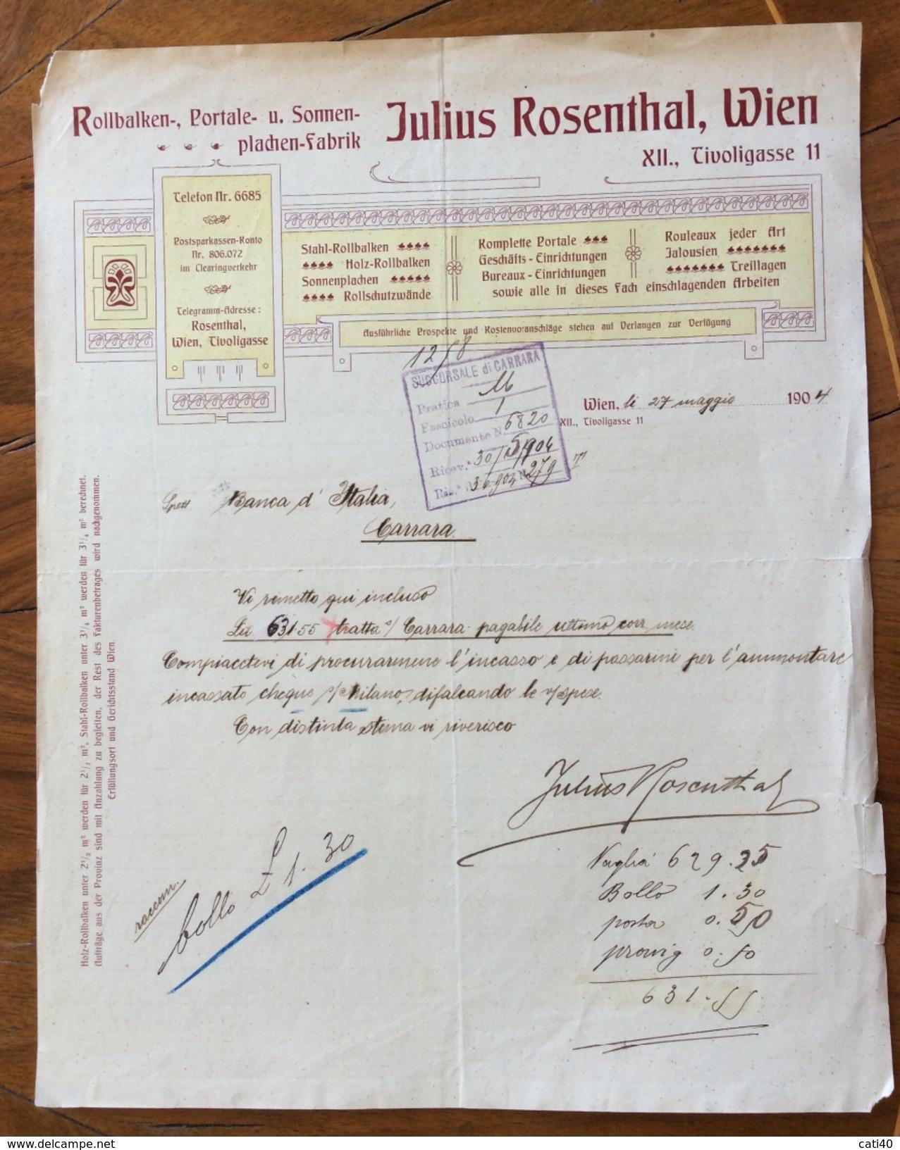 FATTURA PUBBLICITARIA STILE LIBERTY WIENERWALD 1904 JULIUS  ROSENTHAL - Austria