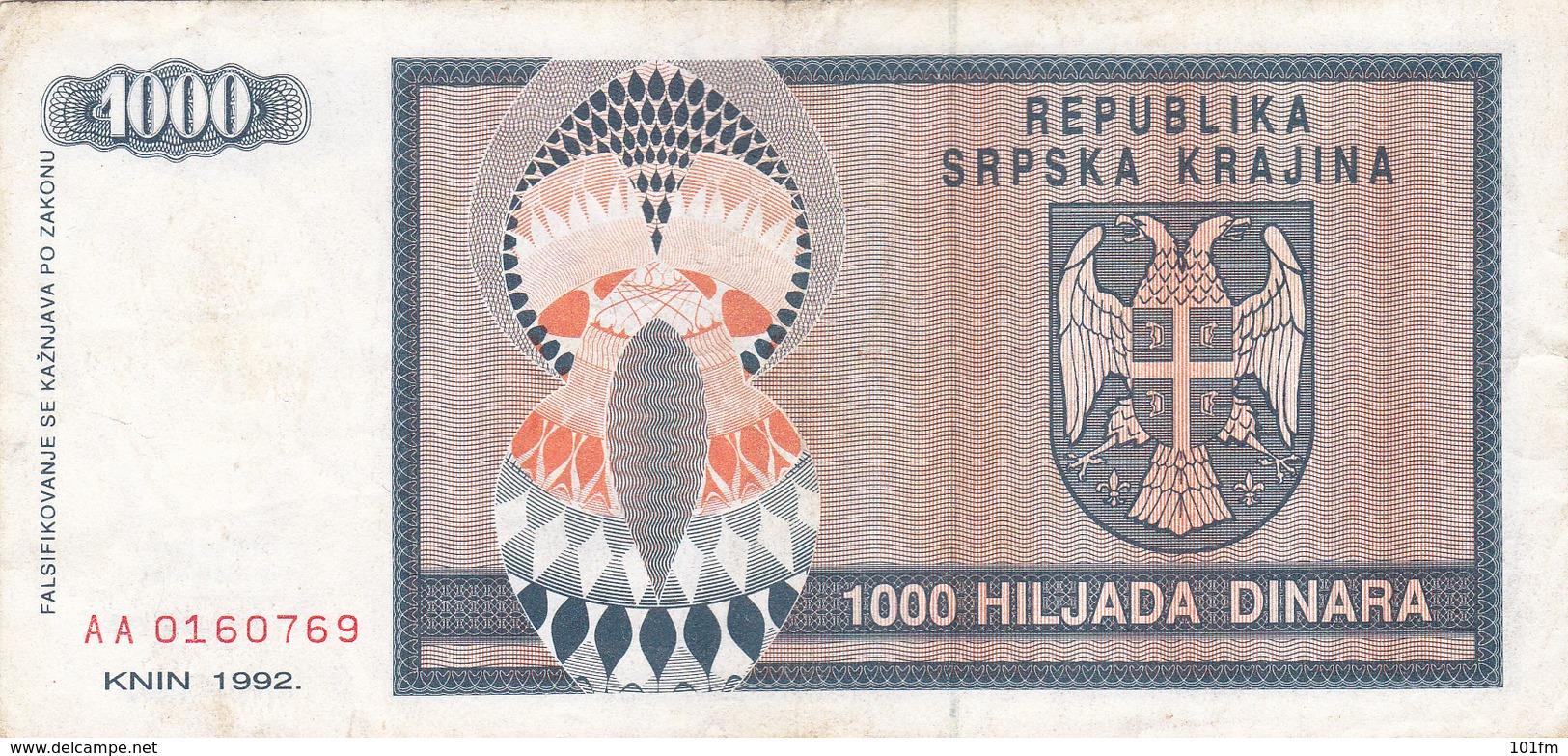 "CROATIA - HRVATSKA - ""Srpska Krajina"" Knin 1000 Dinara 1992 - Croatie"