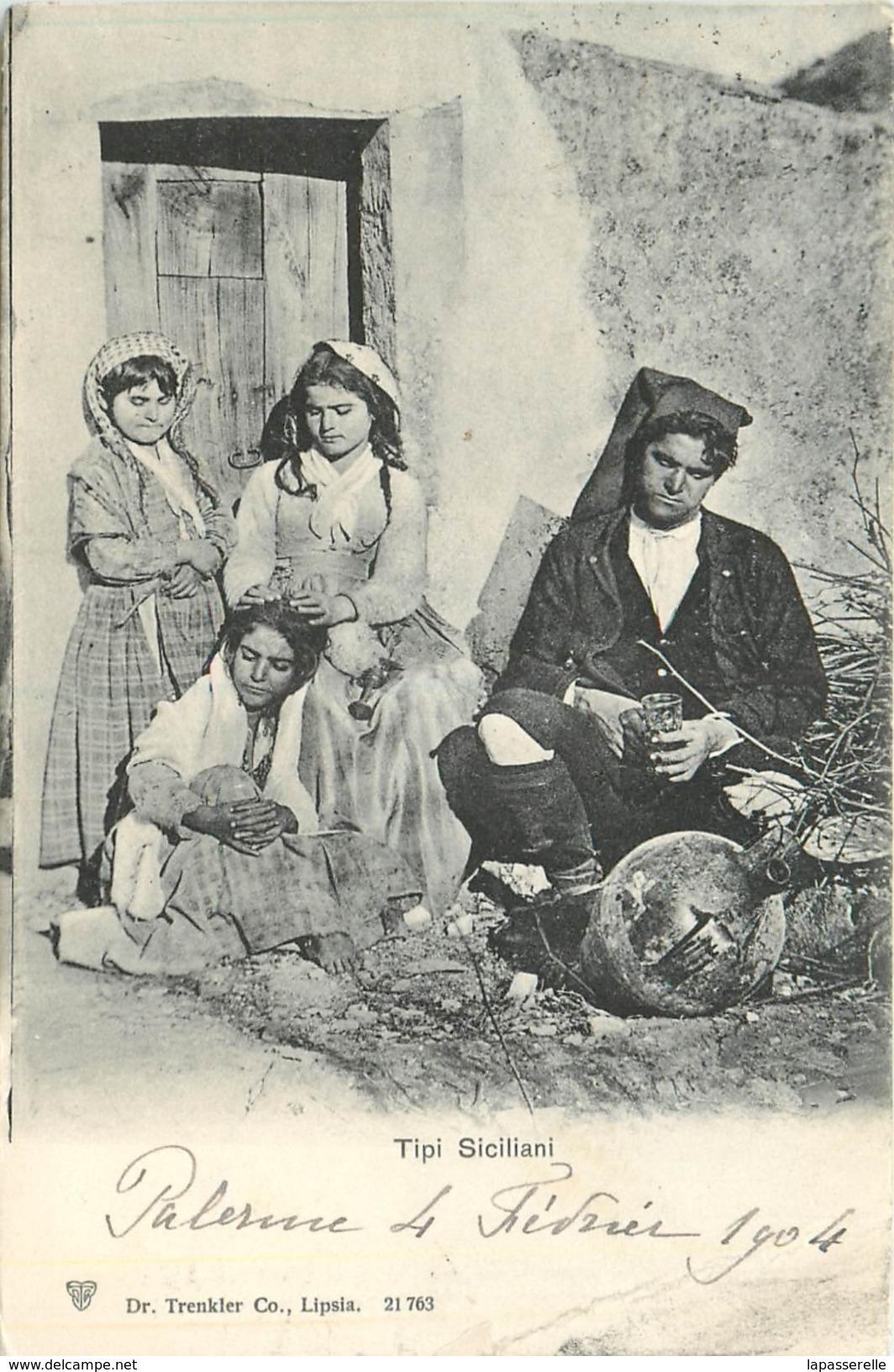 Precureur-Sicile 1904 Tipi Siciliani (costume, Homme, Enfants, Pichet  Ancien- Bambini, Uaomo,abito Vecchio, Brocchetta) - Italie
