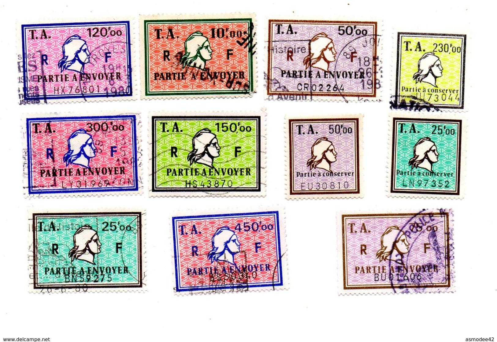 FRANCE  TIMBRES AMENDES    LOT DE  11  TIMBRES  FISCAUX  H 71 - Revenue Stamps