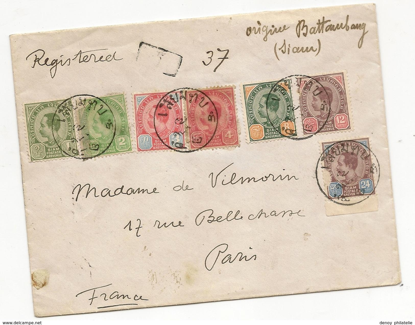 Siam Lettre Recommandée De Battaumland Siam Decembre 1902 Pour Paris, Trés Belle Lettre RRRR - Siam