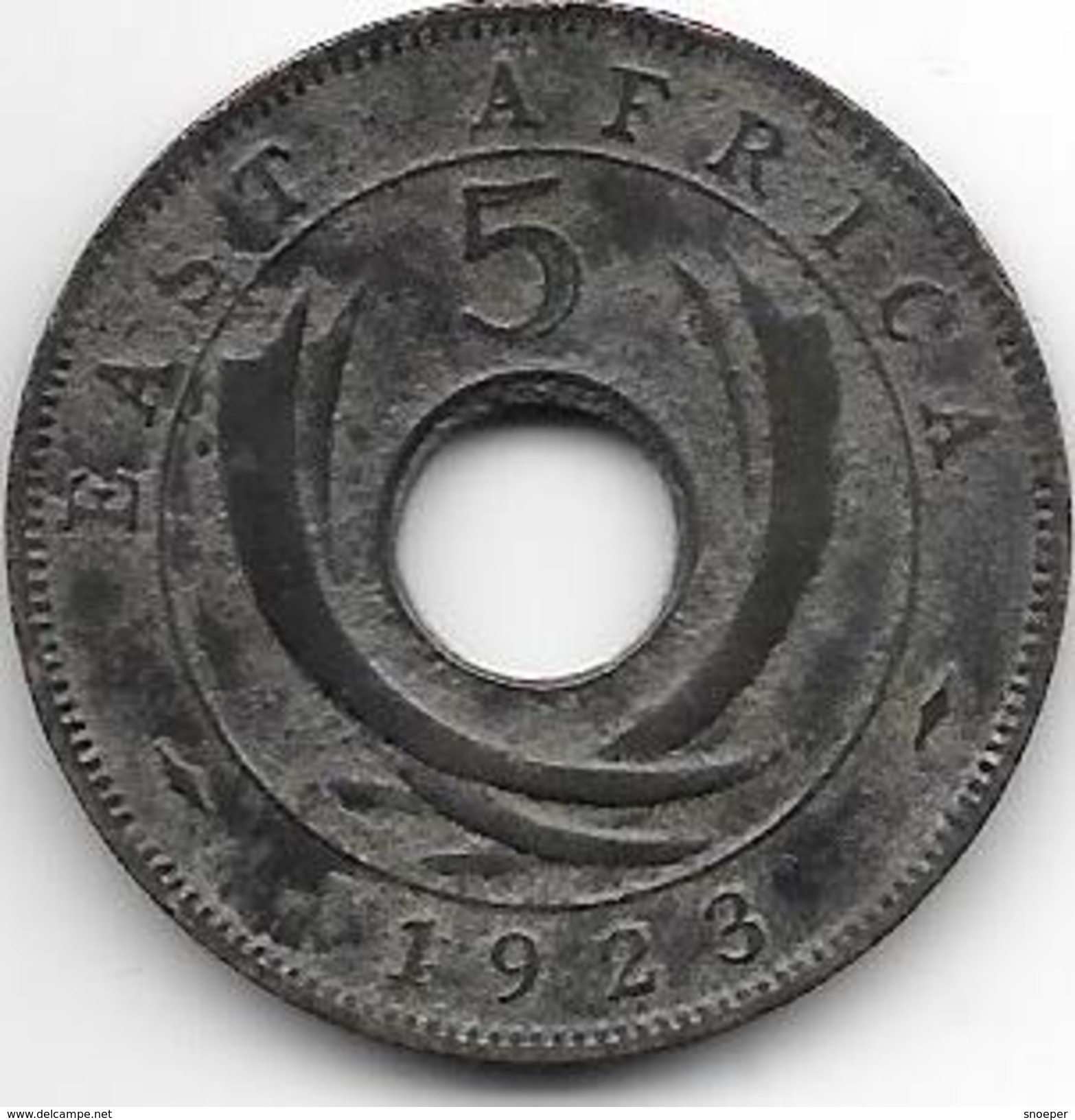 *East Africa 5 Cents 1923  Km 18  Vf - British Colony
