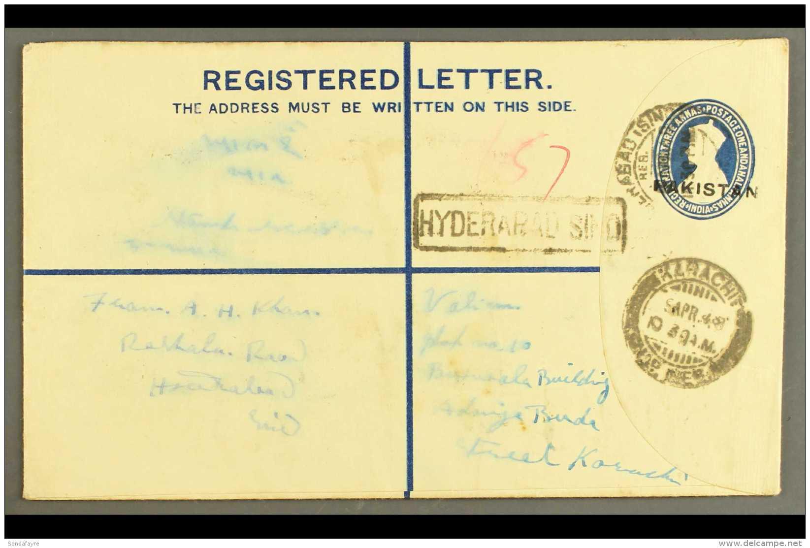"1948 (8 Apr) 4½a Registered Stationery Envelope With ""PAKISTAN"" Nasik Overprint (26¼ X 3mm), On... - Pakistan"