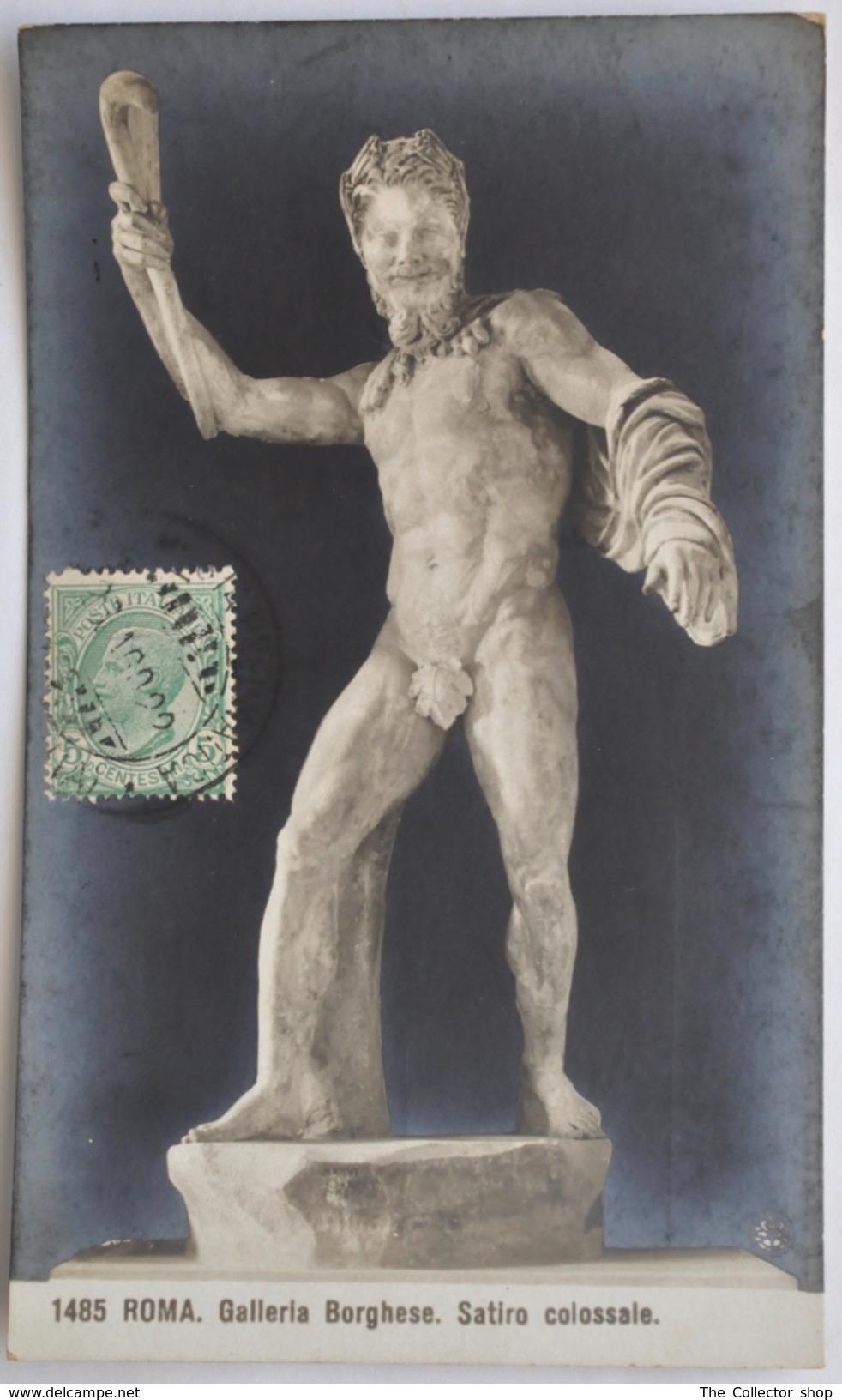 "CARTOLINA  "" ROMA - SATIRO COLOSSALE - GALLERIA BORGHESE""  TIMBRO POSTALE 1922 - Musei"