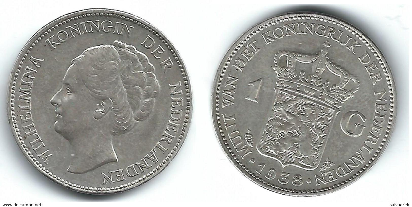HOLANDA  GULDEN 1938 PLATA SILVER T - 1 Florín Holandés (Gulden)