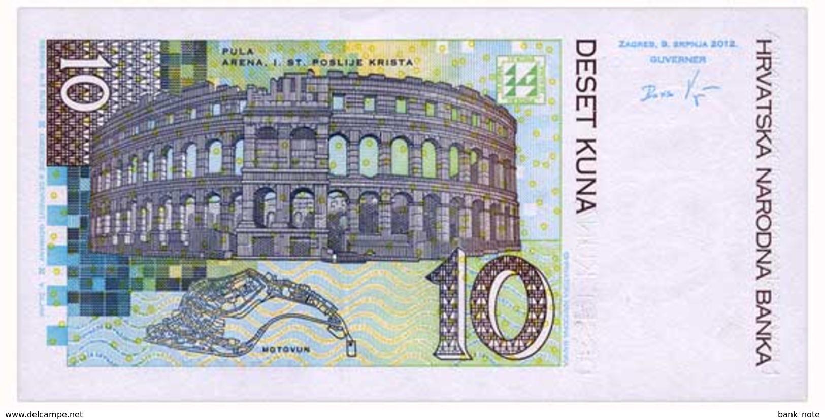 CROATIA 10 KUNA 2012 Pick 38b Unc - Croatia