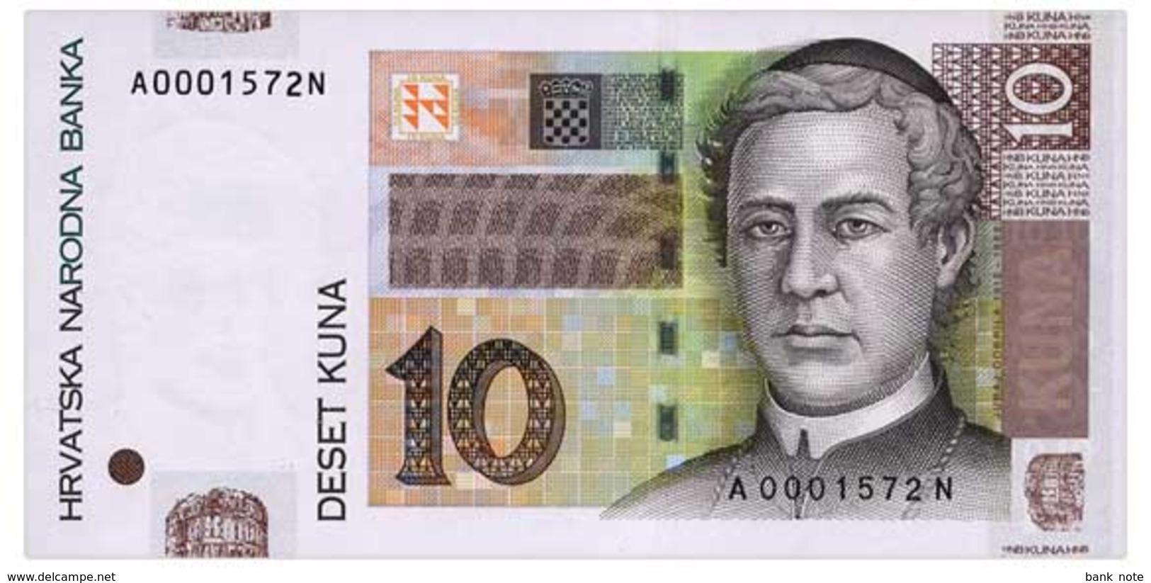 CROATIA 10 KUNA 2001 Pick 38a Unc - Croatia