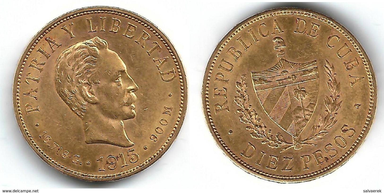CUBA MARTI 10 PESOS 1915 ORO GOLD MUY BONITA NP - Cuba