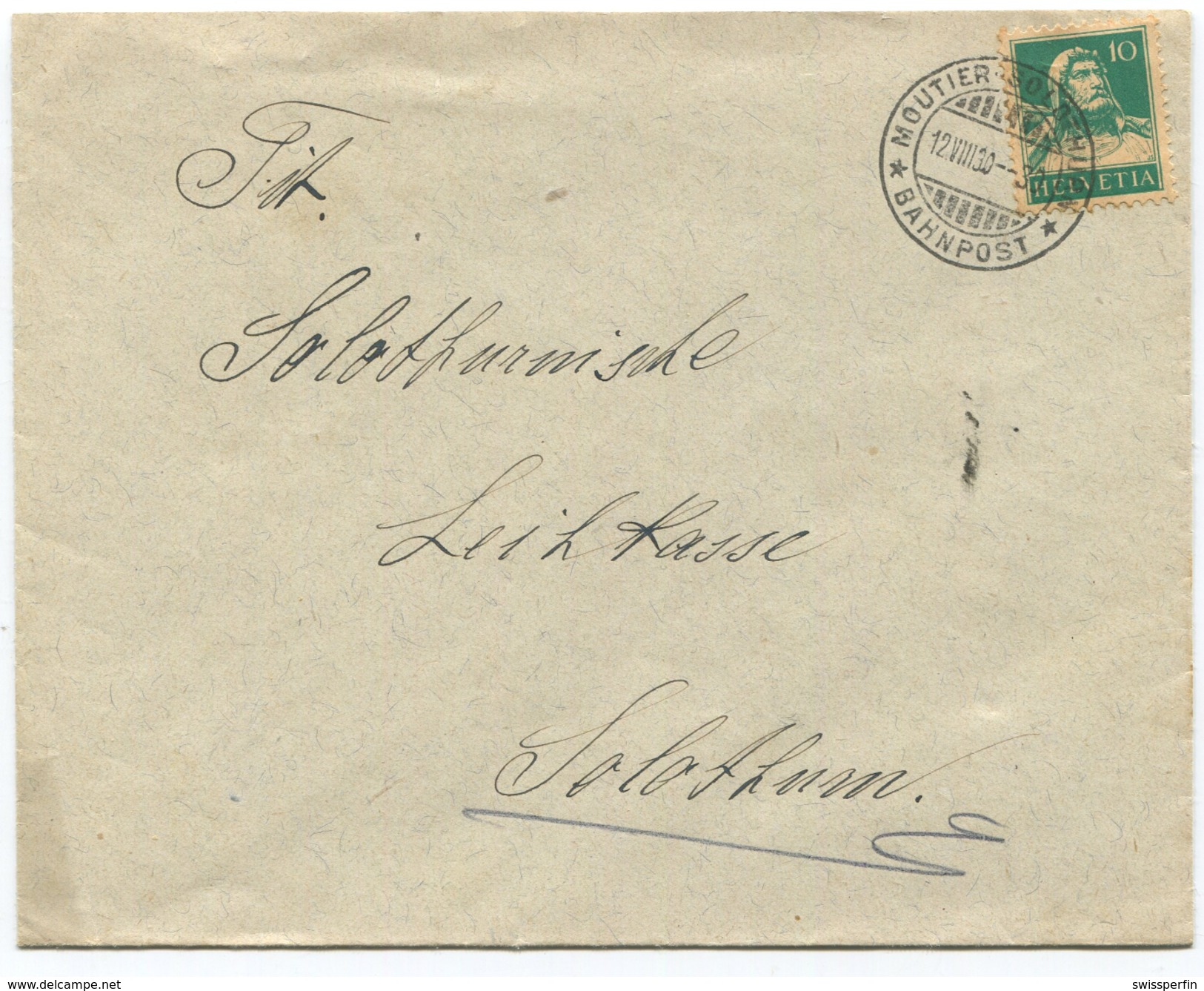 1594 - MOUTIER-SOLOTHURN BAHNPOST Stempel Auf Brief Nach Solothurn - Bahnwesen