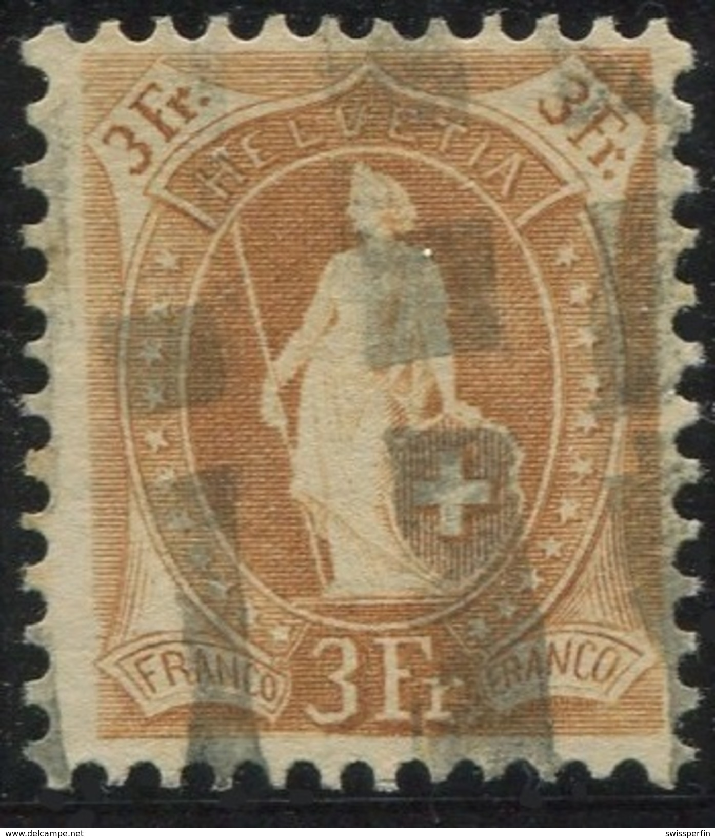 1612 - 3 Fr. Stehende Helvetia Mit Zollstempel - 1882-1906 Wappen, Stehende Helvetia & UPU