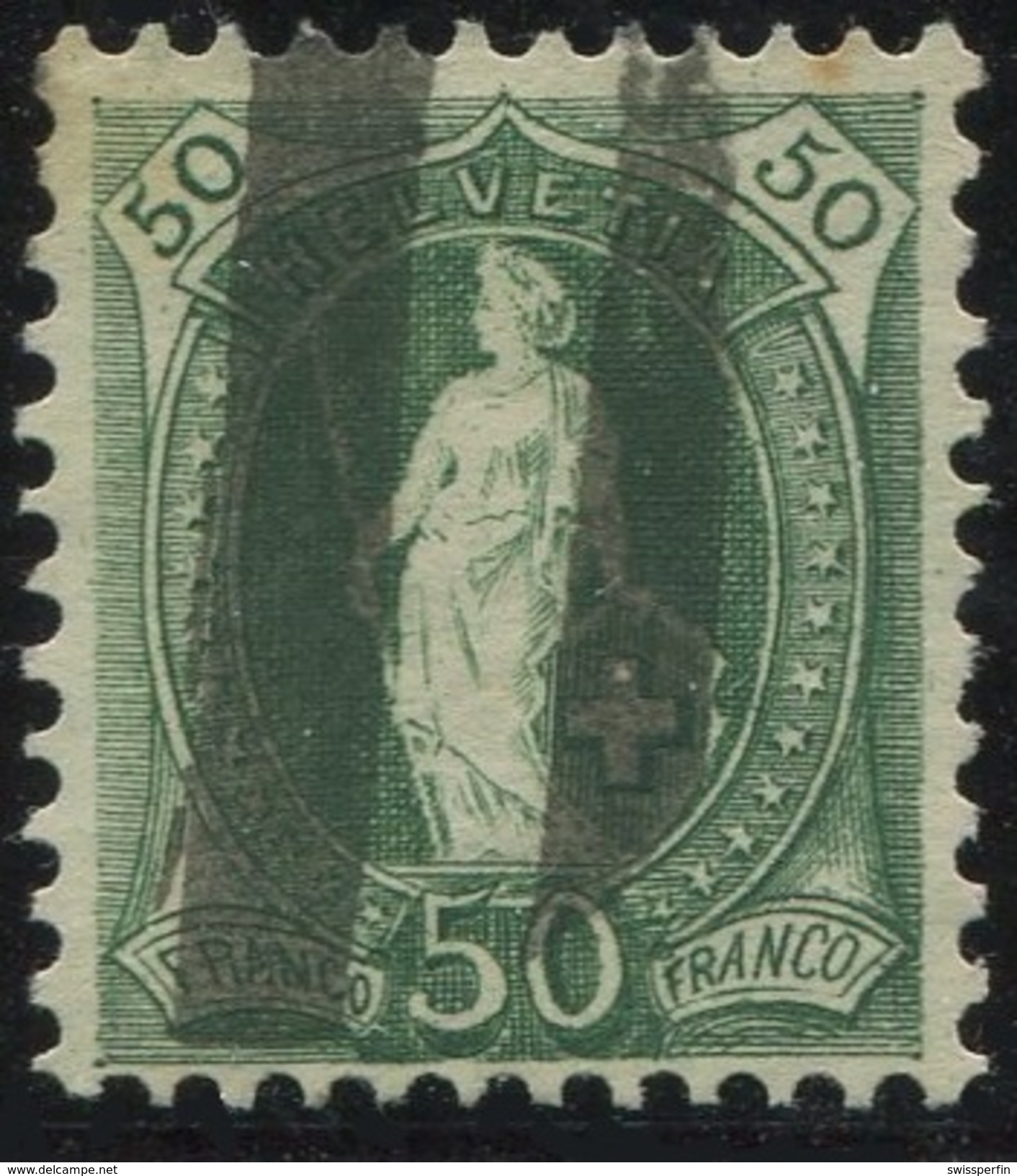 1615 - 50 Rp. Stehende Helvetia Mit Zollstempel - 1882-1906 Wappen, Stehende Helvetia & UPU