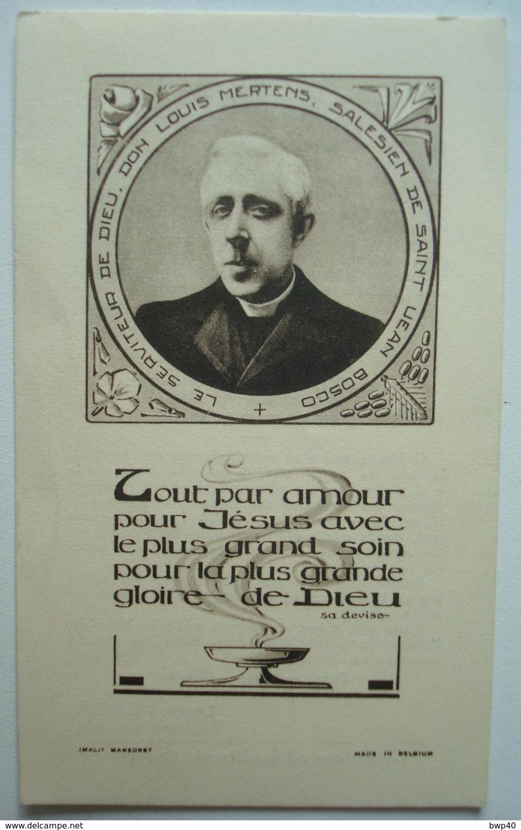 Souvenir De L'Abbé Louis Mertens Salésien Mort En Odeur De Sainteté Le 25 Avril 1920. - Images Religieuses