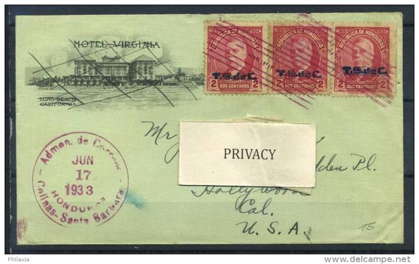 #17-02-05998 - Honduras - 1933 - Mi. - - COV - QUALITY:100% - Admen Colinas Santa Barbara - Honduras