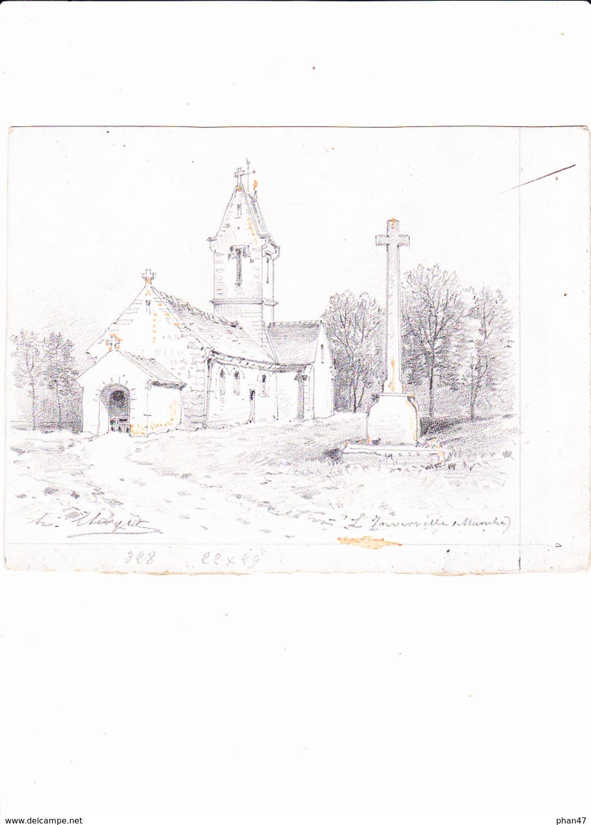 LINVERVILLE - GOUVILLE (Manche), L'Eglise, Dessin Avec Réhauts De Gouache, De Hubert CLERGET Vers 1893 - Dessins