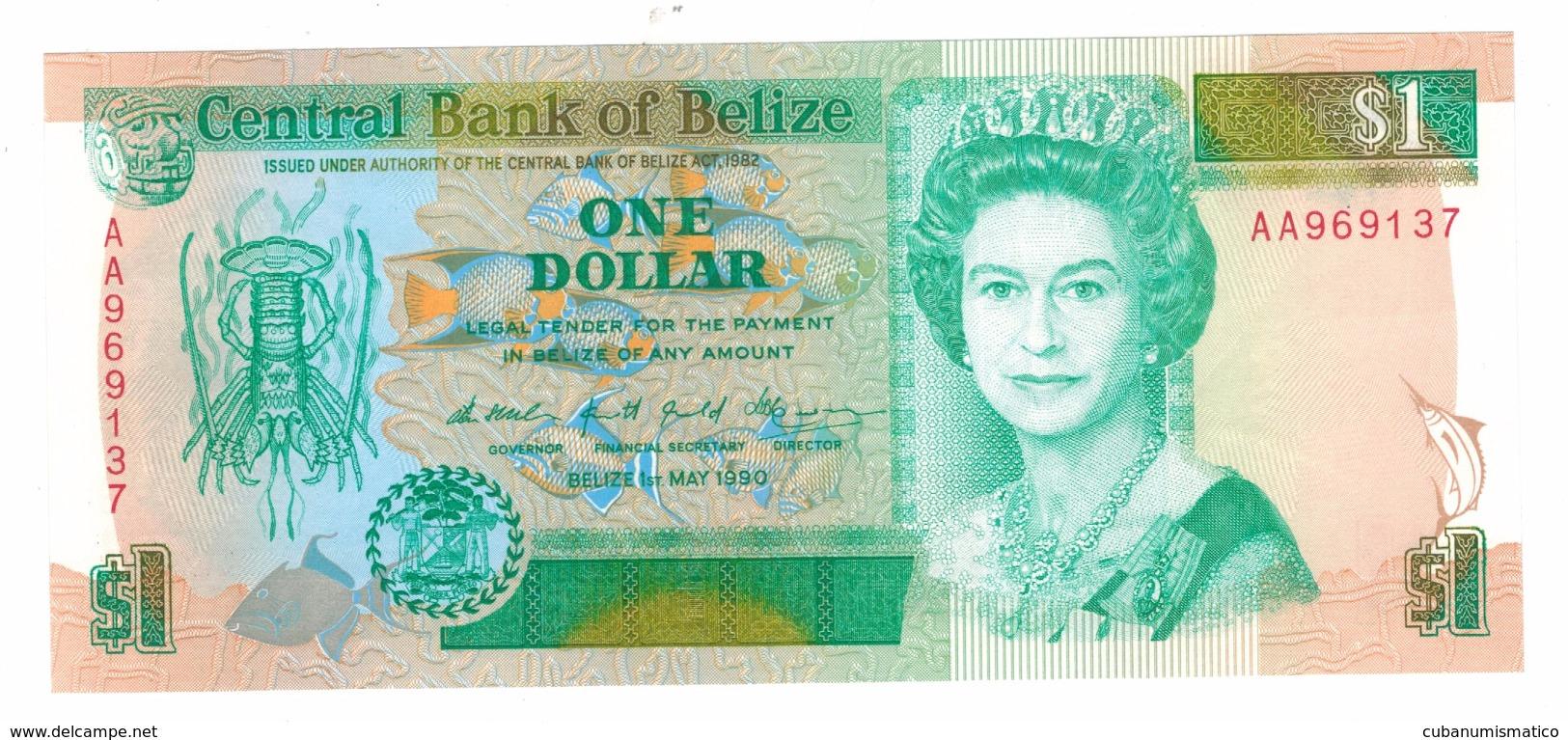 Belize 1 Dollar 1990, UNC ,   Free Ship. To USA. - Belize
