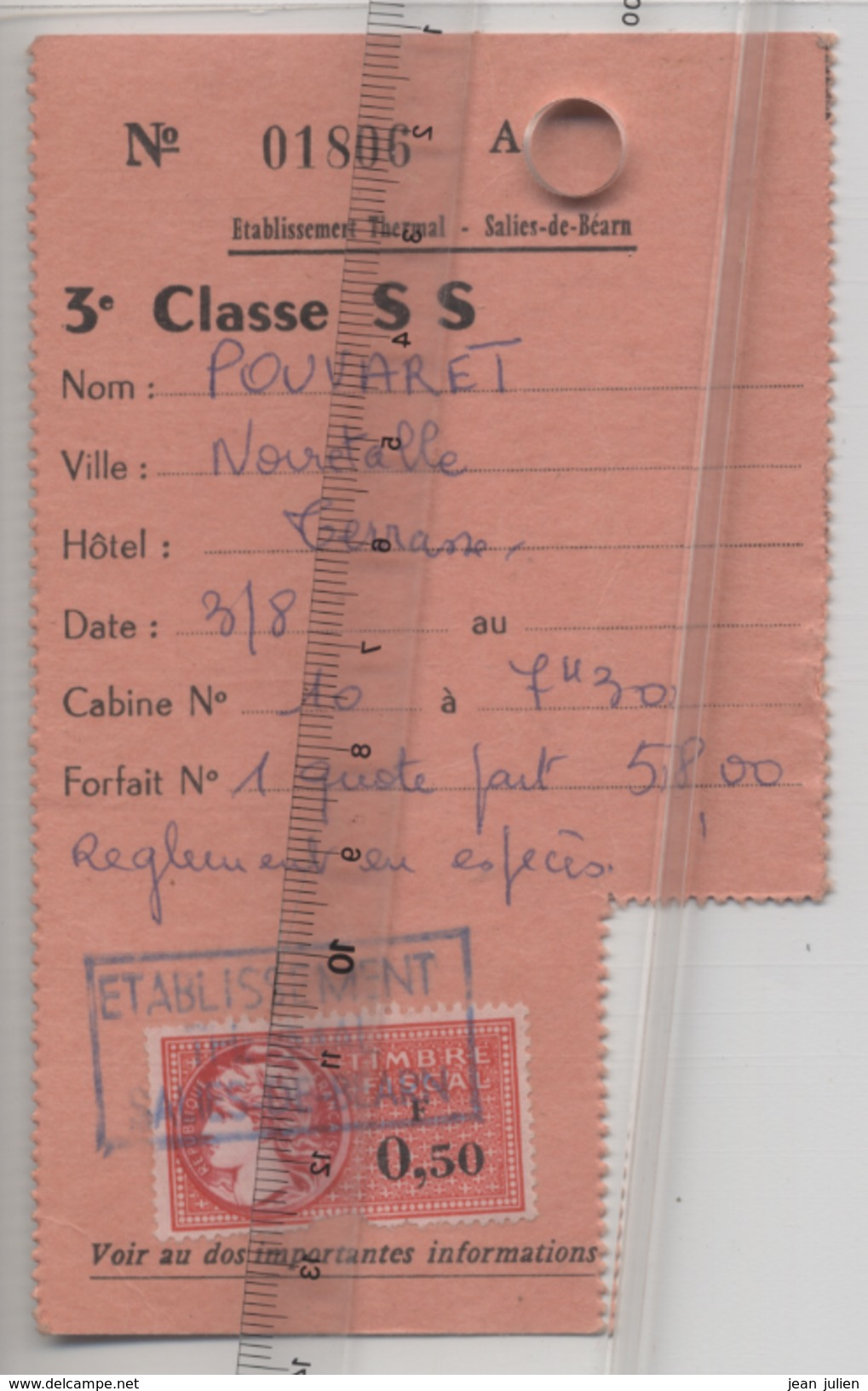 64 - SALIE De BEARN - CARTE DE CURE  - Etablissement Thermal - Curiste - Timbre Fiscal - - Tickets - Entradas