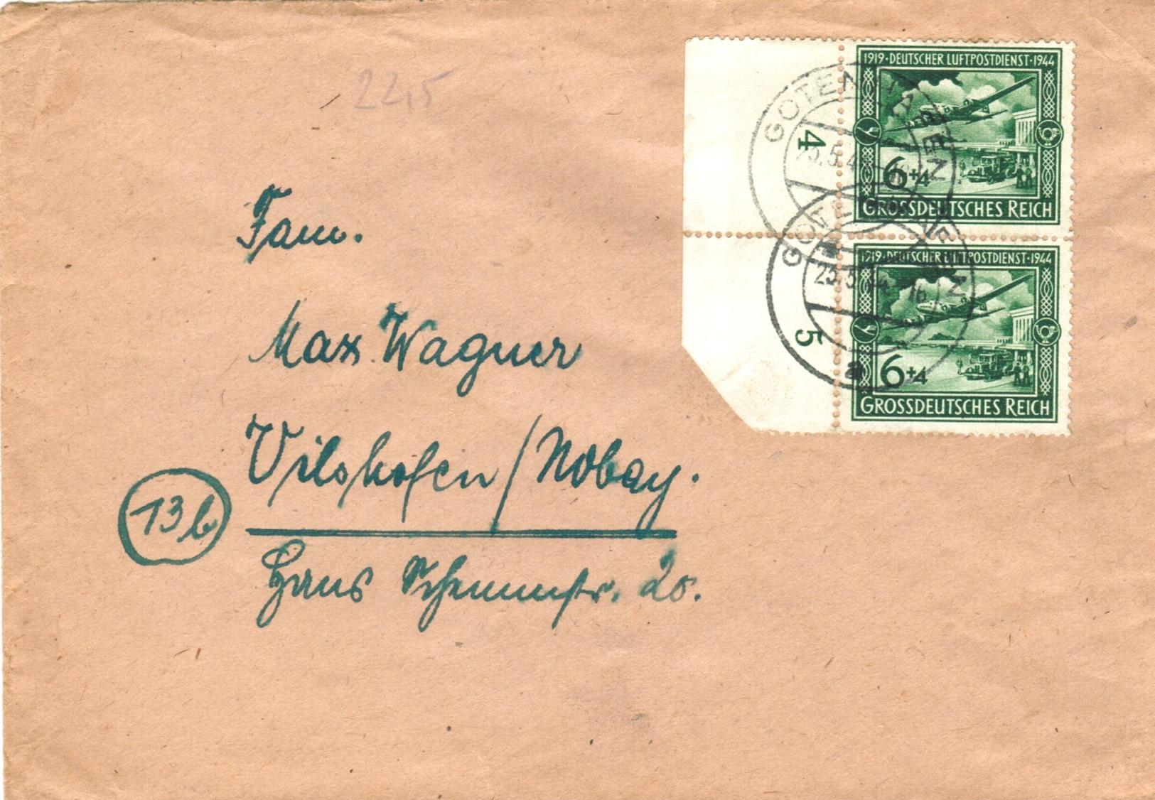 Dt. Reich 866 MEF Portogenau Auf Fernbrief Von Gotenhafen 1944 - Briefe U. Dokumente