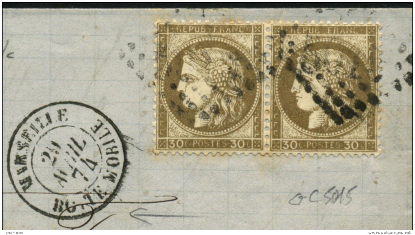 BOUCHES DU RHONE: Pli Avec 30c CERES Dentelé X2 Oblt GC 5015 + CàDate T 15 MARSEILLE BOITE MOBILE  > TUNIS - Marcophilie (Lettres)