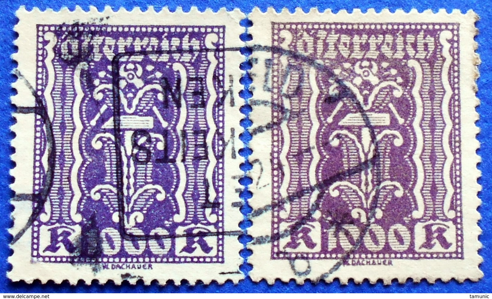 AUSTRIA 2 X 1000 KR.1923 Mic.391 HAMMER AND PLIERS (DIFFERENT COLOURS) - USED - Oblitérés