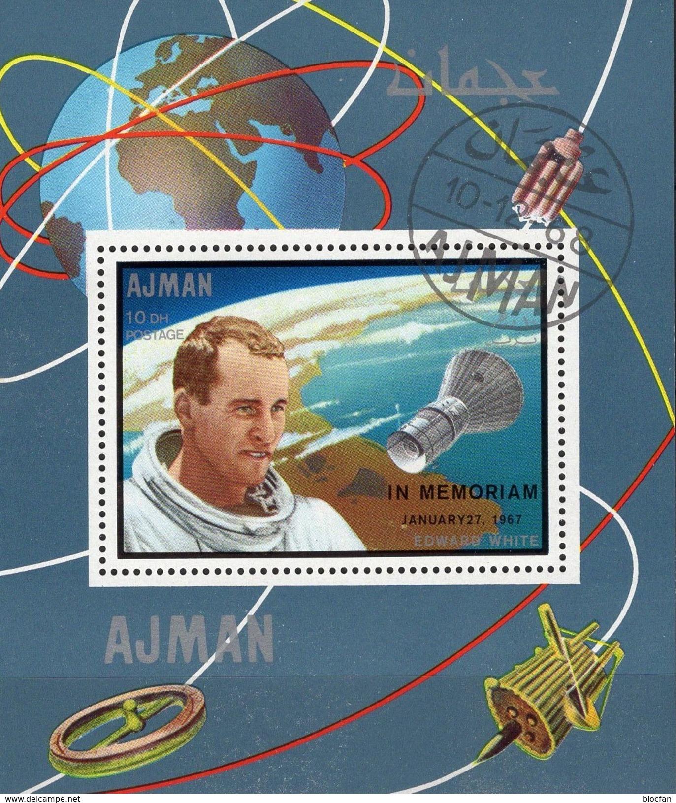 Space 1969 Mondflug Apollo 8 Ajman Block 68,142, Manama Bl.E,F,J12+L,M35 O 70€ Crews Blocs Spaceships Sheets Bf VAE - Space