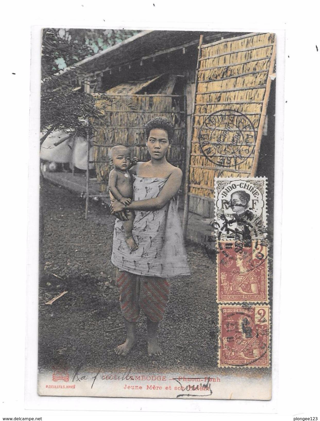 CAMBODGE : Phnom Penh : Jeune Mère Et Son Enfant, - Cambodia