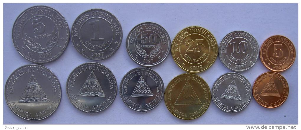 NICARAGUA SERIE 6 MONETE 5-1 CORDOBA 50-25-10-5 CENTAVOS FDC UNC - Nicaragua