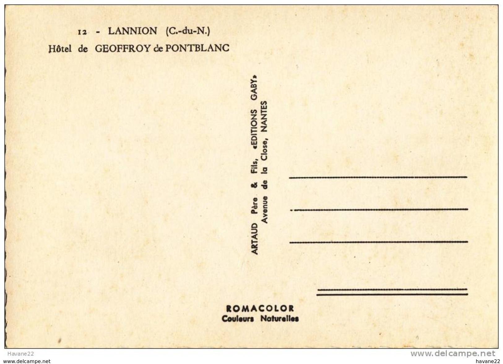 X1075 LANNION HOTEL DE GEOFFROY DE PONTBLANC VOITURE 2 SCANS - Lannion