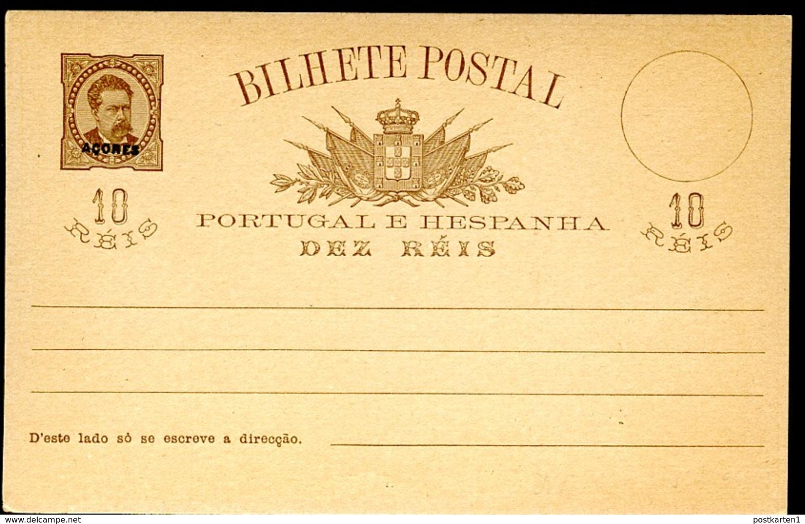AZORES Postal Card #20a Var 10 Reis Mint Vf 1884 - Açores