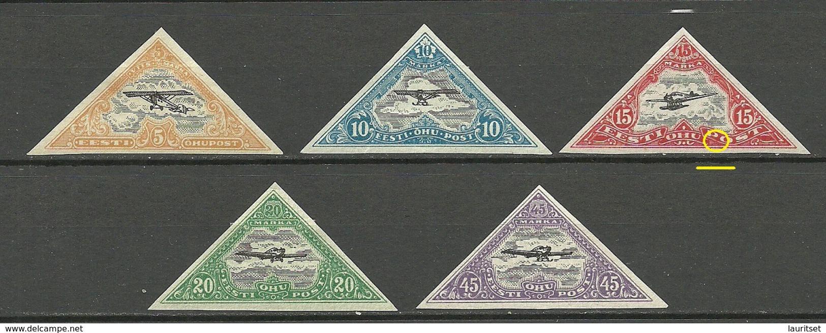 Estland Estonia 1924 Michel 48 - 52 B Incl ERROR Abart Variety * - Estland
