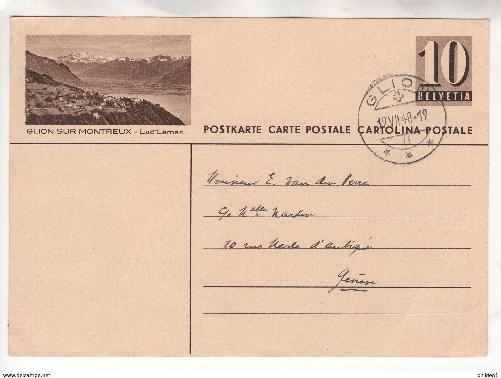 Entier Postal Illustré De 10 Cts Glion Sur Montreux - Lac Léman. Circulé En 1948 - Suisse