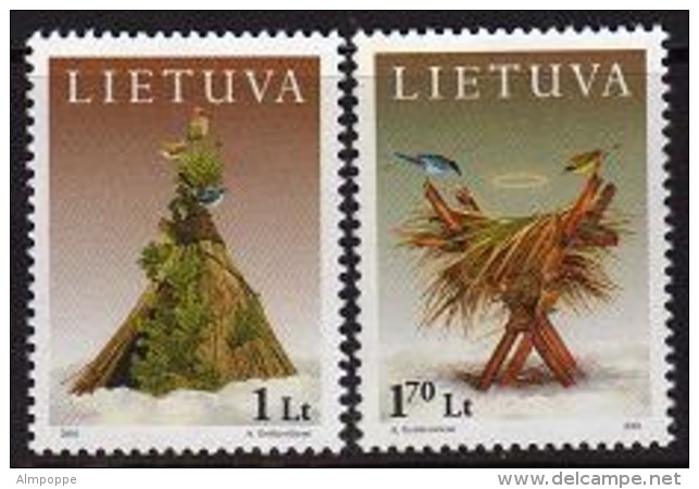 Ref. LT-707-08 LITHUANIA 2001 CHRISTMAS, SET - RELIGION - BIRDS, NEW YEAR - ART MI# 777-778 MINT MNH 2V Sc# 707-708 - Lithuania