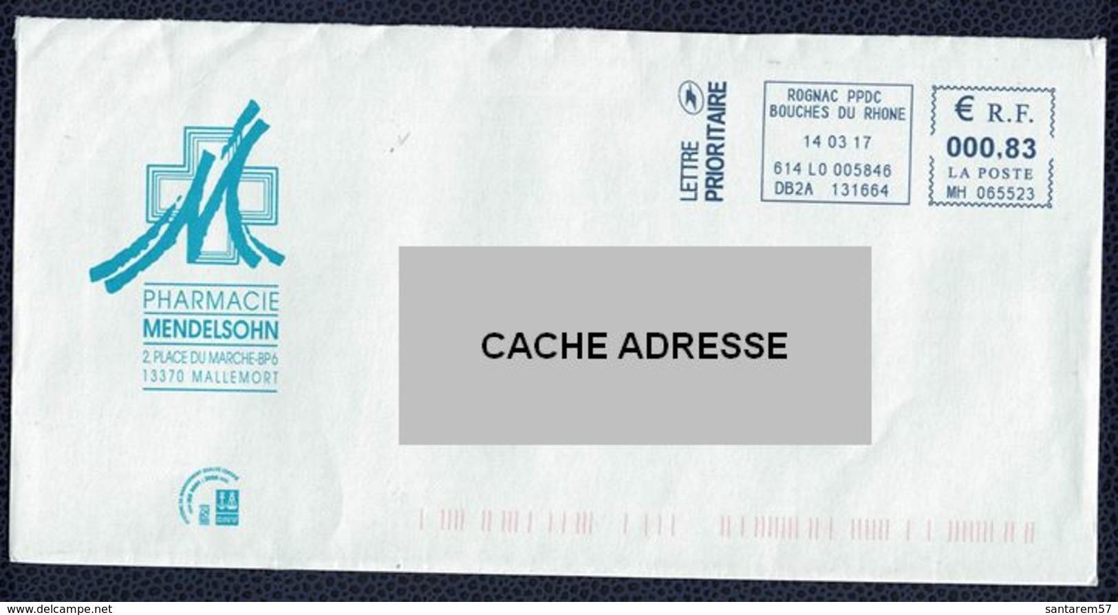 France EMA Enveloppe à Fenêtre Pharmacie Mendelsohn 13370 Mallemort - Storia Postale