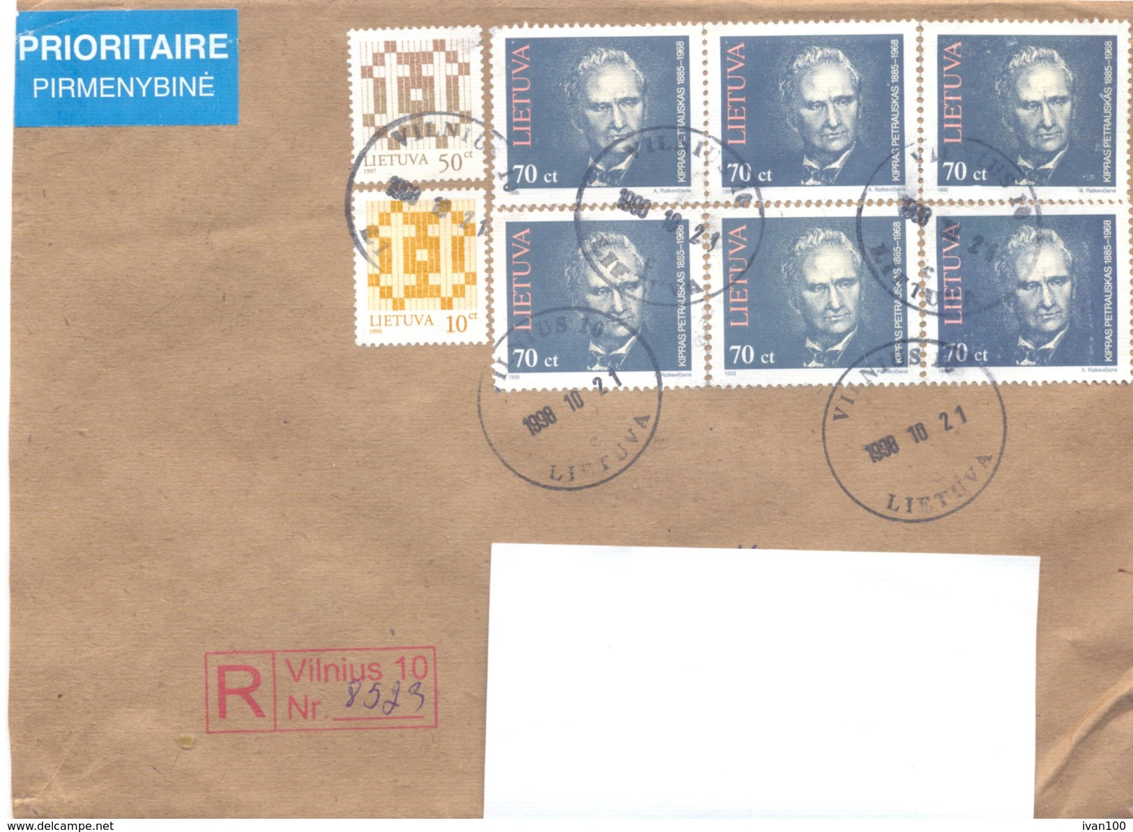 1998. Lithuania, The Letter Sent By Registered Post To Moldova - Lithuania