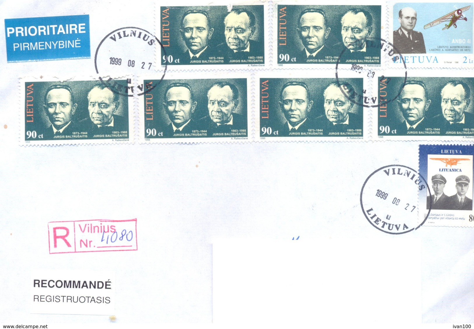 1999. Lithuania, The Letter Sent By Registered Post To Moldova - Lithuania